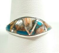 925 STERLING SILVER DOME STYLE SEGMENTED SPINY OYSTER & TURQUOISE SIZE 11 RING