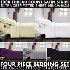Luxury 100% Egyptian Cotton Fitted Sheets & Flat Sheets 1000TC Double King 4pcs