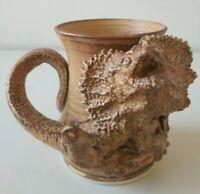 Rare Hellfire Australian Studio Pottery Mug Frilled Lizard Tim Patch Pricasso
