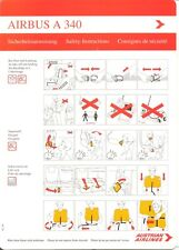Safety Card Austrian Airlines Airbus A 340 1995