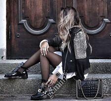 Zara studed embroidered Leather Biker Jacket chaqueta campera de cuero bordados perlas M
