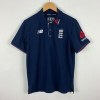New Balance England Cricket Polo Shirt Size S Navy Blue Short Sleeve Collared