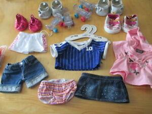Build A Bear BABW Embellished Jean Shorts Shirt Roller Skates Glitter Shoes Girl