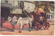 India: Bullock Cart colour postcard, Jansi Canton to London, 21 August 1908