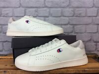 CHAMPION MENS UK 10 EU 45 WHITE COURT CLUB LEATHER TRAINERS