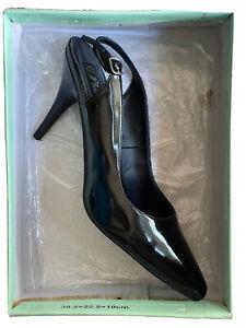 "PLEASER Black Vanity-317  Slingback 3"" Heel Size 15"