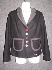 DESIGUAL Black Rain Bow Embroidered Jacket SZ 38