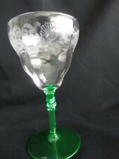 Bryce Clear w/ Uranium Green Stem Etch 390 Blank 325 Water Goblet