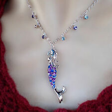 18K White Gold Plated Blue & Purple Mermaid Pendant with Diamond Crystals