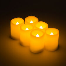 6 x Flickering Flameless Resin Pillar LED Candle Light w/Timer for Wedding Party