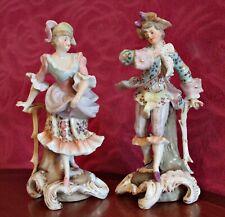 A Pair of Antique German Sitzendorf Porcelain Figurines 1887-1900
