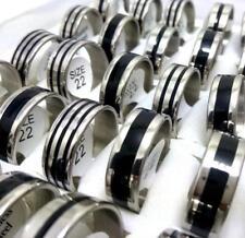 20x Black enamel band rings Men's Stainless Steel Wedding Jewelry job lots