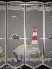 Edle Scheibengardine Leuchtturm Anker Küche Bad Küste Maritim Insel n. Maß 28 cm