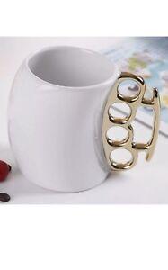 2 X White Knuckle Duster Fist Mug Fisticup Finger Coffee Milk Tea Ceramic Cup