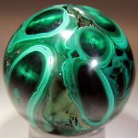 1 lb 7.8 oz Malachite Sphere Made of Stalactite, Best of Best! Congo! MA907