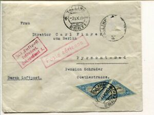 Estonia air mail cover to Germany 7.9.1925, one stamp removed