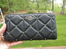 NWT Coach F39099 Black Leather Studded Diamond Accordion Zip Wallet