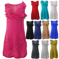 New Womens Italian Frill Bust Linen Panelled Layer Sleeveless Vest Ladies Dress