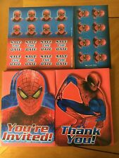 Spider Man 8 Birthday Party Invitations 8 Thank You Notes Envelopes +Used Decor