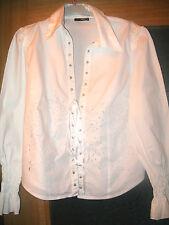 REBAJAS  preciosa camisa tipo corsets blusa blanco  L, 44,46 algodon calados