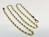"""10KT Solid Yellow Gold Diamond Cut Rope Chain Necklace 22"""" 4 mm 19 grams (030rr)"""