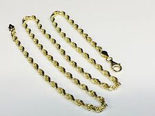 "10KT Solid Gold Diamond Cut Rope Chain Necklace 24"" 4 mm 21 grams (030rr)"