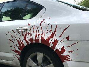 Auto Aufkleber Folierung Blut Tropfen mit Spritzer im Set für 2 Seiten