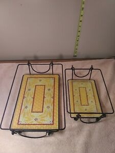 """Vintage 2 Tempered yellow glass trivets and metal baskets 12""""x8"""" & 8.5 """"x 6"""" ."""