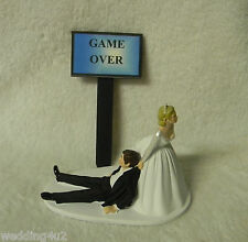WEDDING Bride Dragging Groom to Alter Humorous  ~Game Over Sign~  CAKE TOPPER