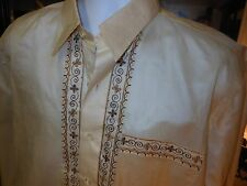 """VINTAGE Men's RAYON OPAQUE TAN Shirt BROWN&GOLD EMBROIDERY Long Sleeve 48"""" CHEST"""