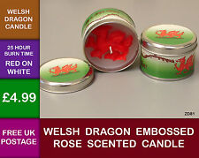 Welsh Gift Dragon Embossed Rose Scented Candle Red White ZD81