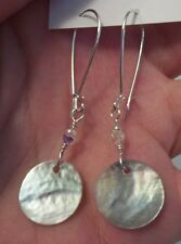 "2"" Natural Mother of Pearl Coin Sterling Silver Plated Earrings * Sundance Arti"