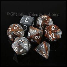 NEW 7pc Set Copper Steel Grey Gemini RPG Game Dice in Box D&D Chessex D4 D20 +
