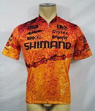 Vtg Mens Louis Garneau Shimano orange s/s cycling jersey Medium