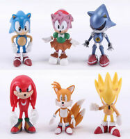 6 Sonic Boom Sonic the Hedgehog Amy Tails Action Figure set Doll Toy Cake Topper