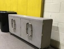 Vintage Industrial Media Console Credenza Mid Century Stainless Urban Buffet
