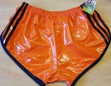 Sexy Retro PVC Sprinter Shorts S to 4XL, Orange-Black