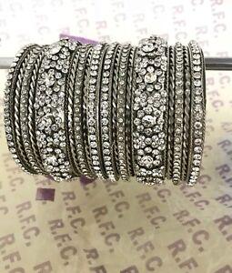 Indian Bangles kara churi bracelet 18 piece Bollywood silver diamante style