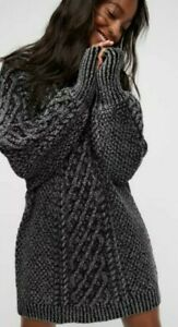 FREE PEOPLE ON A BOAT CABLE KNIT MINI SWEATER DRESS GRAY SIZE XS