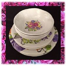 Price Reduced Cynthia Rowley Melamine Rose Floral Dinnerware 12 Pc Set FREE SHIP