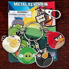 New Angry Birds Metal Charm Key Chain Backpack Clip Red Yellow Black & Green Pig