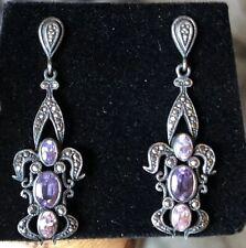 Vintage Deco Marcasite Sterling Amethyst Purple Pink Stone Chandelier Earrings