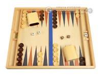 """19"""" Wood Backgammon Set - Beechwood (Blue/Brown) - Tabletop Wooden Board"""