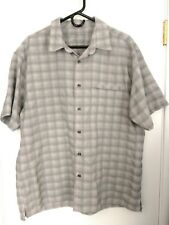 MEN'S LARGE EDDIE BAUER SPORT GRAY PLAID COCONA POLYESTER NYLON BUTTON UP SHIRT