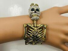 Crystal Skull Skeleton Bangle Bracelet - Gold Tone