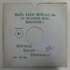 "78rpm 12"" card gramophone record sleeve MAZEL RADIO , MANCHESTER , WHITE / GREEN"