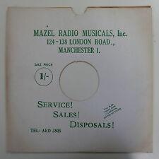 "78rpm 12"" card gramophone record sleeve MAZEL RADIO , MANCHESTER , WHITE / GREEN"