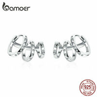 BAMOER Women Fashion Punk girl Earrings S925 Sterling silver With CZ Jewelry