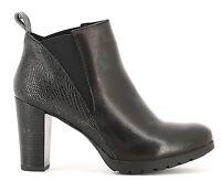 KEYS 1156 PELLE NERO scarpe donna tronchetti stivali stivaletti tacco zeppa