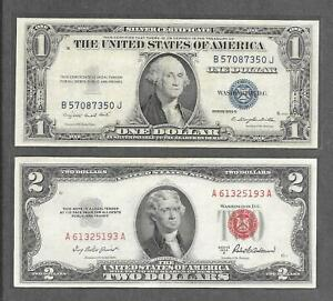 1935 G NO MOTTO + 1953 A - ( 2 ) $1 + $2 EF Red Seal & Silver Certificate Notes